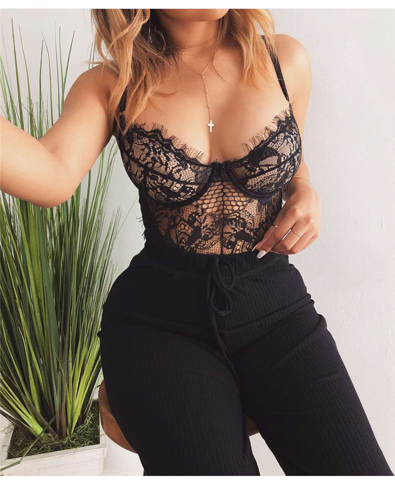 Haef163e518994a6eafe36100267753300 Women Lingerie Bodysuit Sexy Lace Sleeveless Mesh Floral See-through Teddies Exotic Hollow Out Clothing