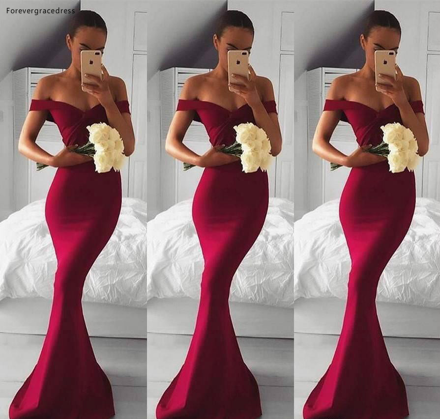 2019 Burgundy Bridesmaid Dress Mermaid Off Shoulders Country Garden Formal Wedding Party Guest Maid Of Honor Gown Plus Size