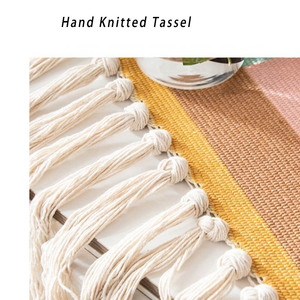 Image 5 - Geometrische Tapestry Hand Geknoopt Kwastje Bruiloft Gedrukt Muur Opknoping Decor Moslim Ornament Boho Home Decor Wandtapijten