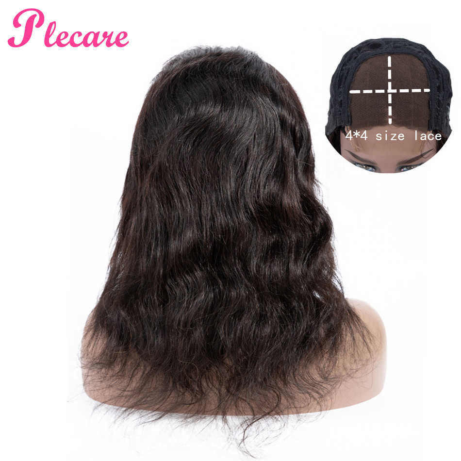 Plecare 4*4 Human Hair Wigs Brazilian Wavy Lace Closure Human Hair Wigs For Black Women Non-remy Natural Color