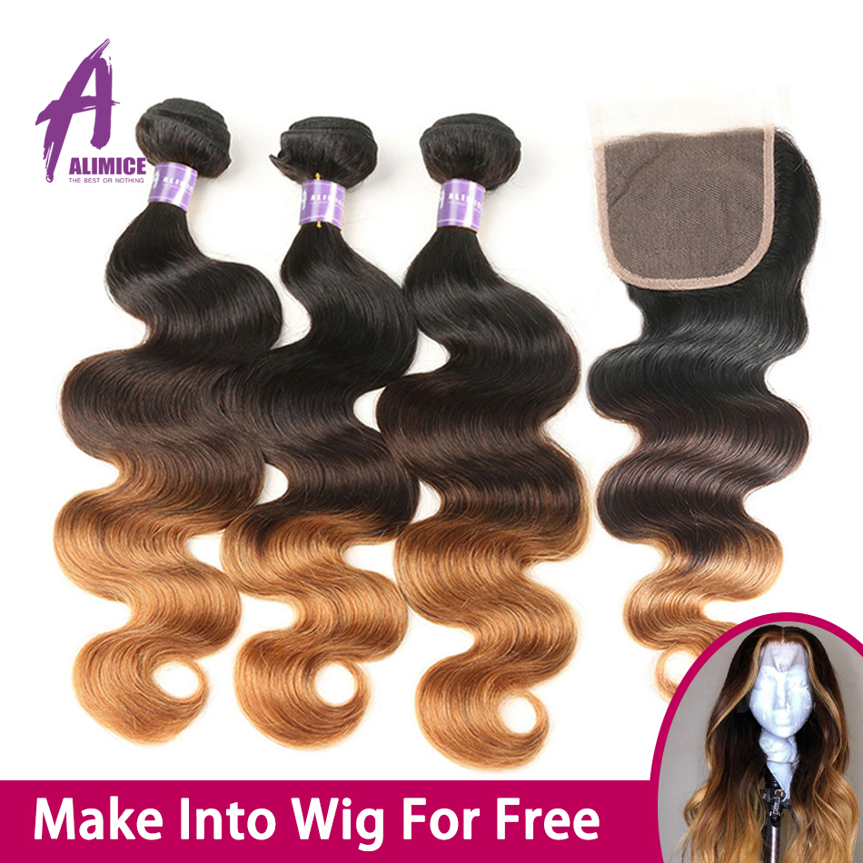 Perruque Body Wave Lace Closure Wig brésilienne naturelle-Alimice | Cheveux humains, sans colle, faite avec 150% mèches avec Closure, densité 2/3
