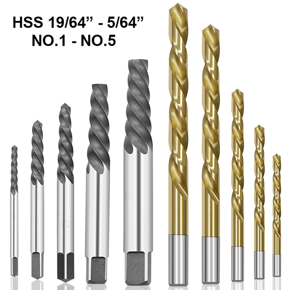 10pcs/set Convenient Cobalt Left Hand Drill Bit Broken Bolt Damaged Screw Extractor Set With Metal Case To Collect The Tools
