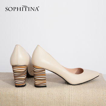 SOPHITINA New Women Pumps Genuine Leather Elegant Shallow Mixed Colors Heel Pointed Toe Working Party Office Lady Shoes PC165