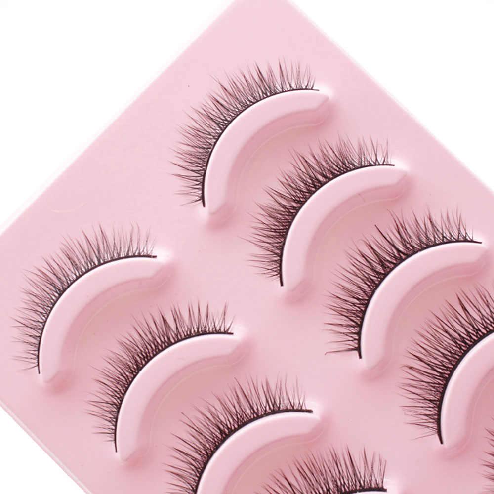 Nieuwe 5 Pairs 3D Natuurlijke Handgemaakte Lange Bossige Kruis Valse Wimpers Nertsen Haar Wimpers Extension Black Makeup Beauty Tools