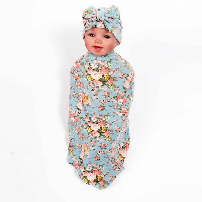 2 יח'\סט תינוק שמיכות יילוד הדפסת גלישת שמיכת כובע תינוק ילדים bow-קשר כובע החתלה לעטוף סט תינוקות מתנות