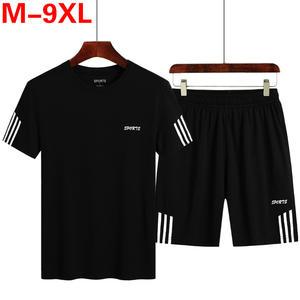 T-Shirt Tracksuit Shorts-Sets Male Men Fashion Casual-Set Summer 2pcs Striped