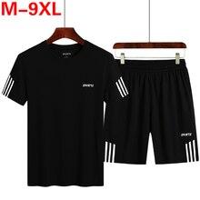2020 году мужчин повседневная мода набор 2 шт тренировочный костюм в полоску с коротким рукавом t-рубашки шорты комплекты мужской спортивной одежды костюм летний Sportsuit