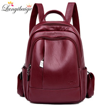 2019 Women Leather Backpacks Womens Shoulder Bag Backpack Ladies Backpack Vintage School Bags For Girls Travel Backpack New