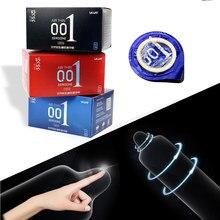 Ikoky hialurônico ácidos preservativos látex natural 10 peças caixa de gelo calor toque brinquedos sexuais para produtos do sexo masculino 0.01 ultra fino