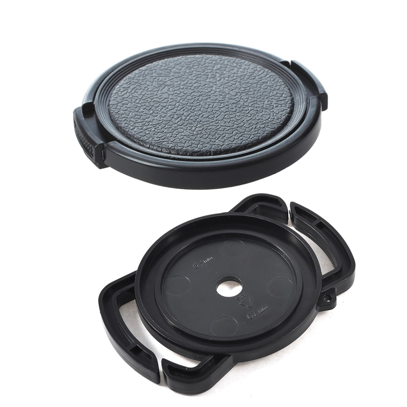 Textured Black Plastic 52mm Lens Cover Cap for Camera & Replacement 52mm 58mm 67mm Camera Lens Cap Holder Buckle image