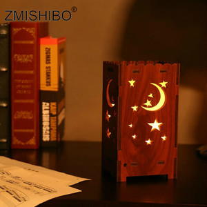 Zmishibo Led Night Light Christmas Starry Moon Wooden Lamp Colorful Projection Lamp for Bedroom Decoration Kids Baby Gifts