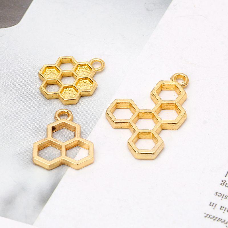 10 шт золотой кулон соты пустая рамка из смолы установка в открытую рамку Изготовление ювелирных изделий