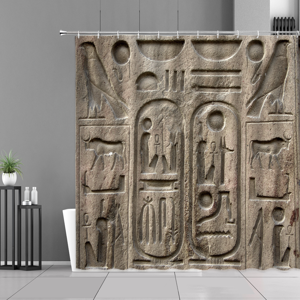 Ancient Egypt Hieroglyphic Shower Curtain Egyptian Cleopatra Queen Retro Exotic Home Bathroom Decor Waterproof Hooks Curtains