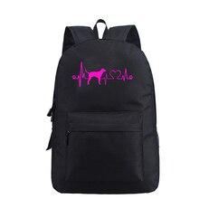 Women Men Backpack Bag Leopard Heartbeat Hound Dog Lover Printed Backpacks Travel Shoulder School Bagpack Sac A Dos Drop Ship татуировка переводная heartbeat