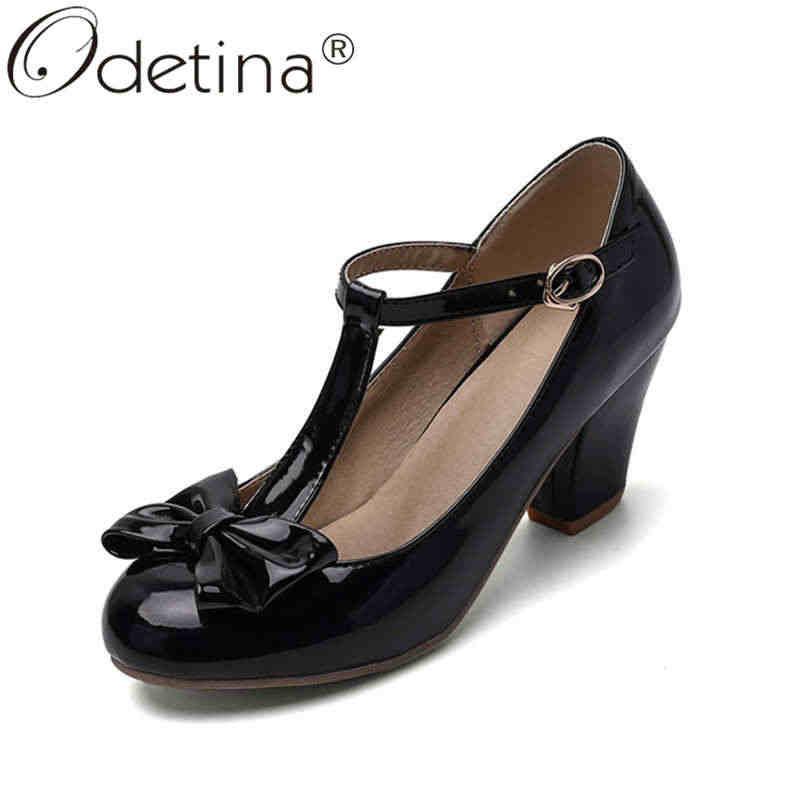 Odetina ผู้หญิงแฟชั่น T-StrapRound Toe สิทธิบัตรหนังรองเท้าสุภาพสตรีหวานสายรัดหัวเข็มขัดส้นสูง Bow Mary janes รองเท้า