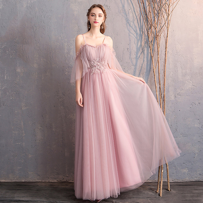 New Bridesmaid Dresses Cameo A Line Floor Length Wedding Guest Gown O-Neck Sling Half Sleeve Elegant Vestido De Festa Longo R002