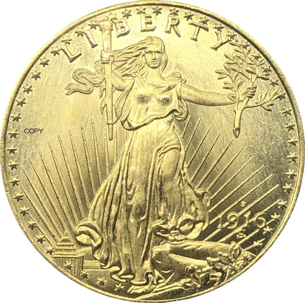 Estados unidos américa 1916 s liberdade vinte 20 dólares saint gaudens dupla águia com lema em deus nós confiamos ouro cópia moeda
