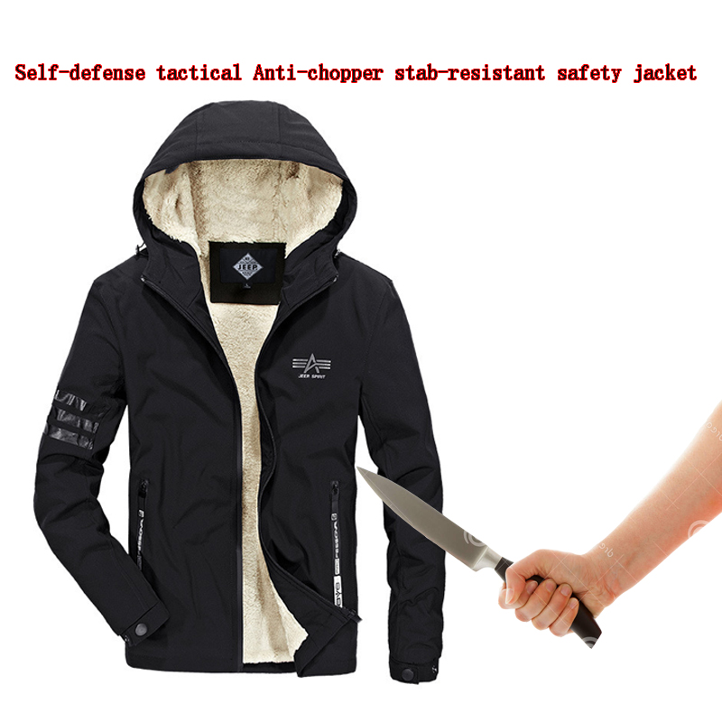 Self Defense Jacket Tactical SWAT POLICE Gear Anti Cut Knife Cut Resistant Anti Stab Proof Hooded Warm Military Security Clothin