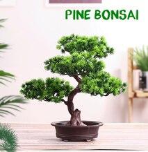 จำลอง Pine การ์ดอวยพรผู้เข้าพัก Bonsai искусственная ельTree ประดิษฐ์ Plant Arrangement ห้องนั่งเล่นในร่ม tabletop Decor