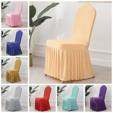 24 Colours Skirted Chair Covers Spandex Lycra Universal Ruffled Chair Cover Wedding Hotel Banquet Decoration Ruched Thick