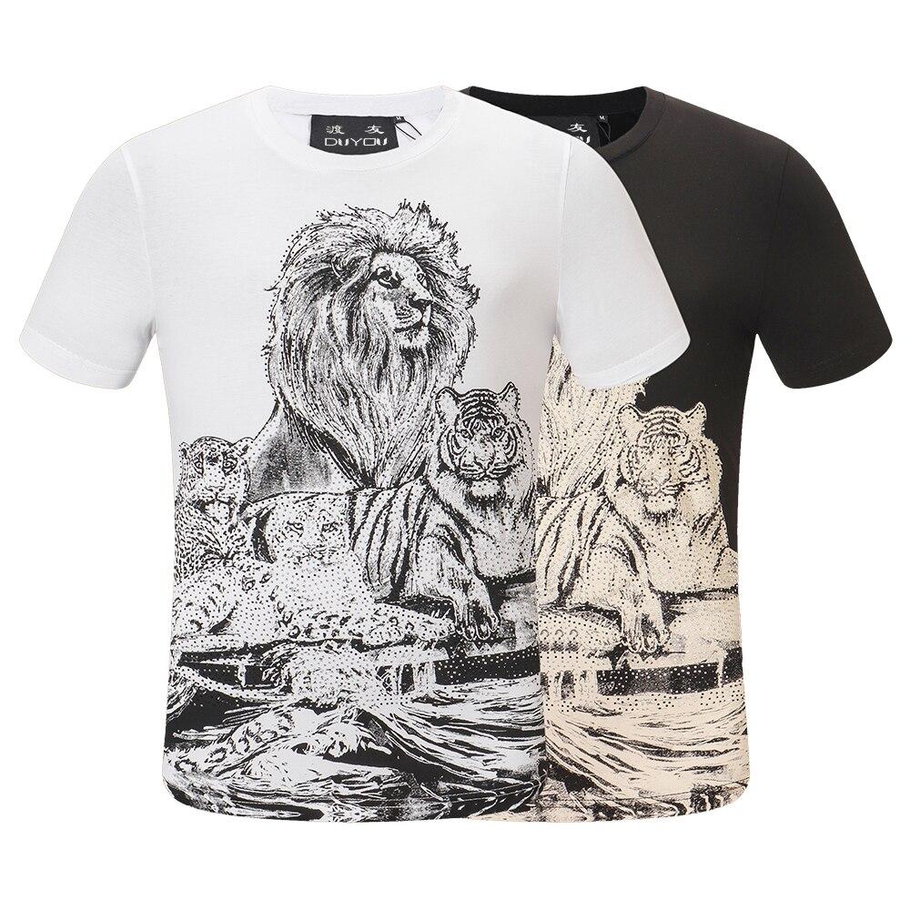 DUYOU hommes T-shirt roi de Bling cristal crâne t-shirts hommes T Shirt mode Lion famille graphique hauts pour hommes Camisetas Hombre