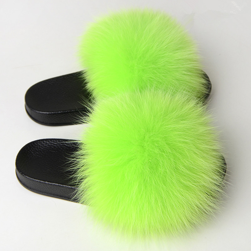 New Women Wool Slippers Luxury Real Fox Hair Fluffy Fur Warm Soft Indoor Slippers Furry Flip Flop Mujer Zapatillas