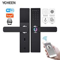 YOHEEN Wifi Electronic Smart Door Lock With Tuya App, Security Biometric Fingerprint Intelligent Lock With Password RFID card