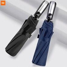 Xiaomi Ветрозащитный Зонт Автоматический Складной Дождливый Солнечный зонт авто роскошный большой для женщин и мужчин бизнес алюминиевый сплав зонтик