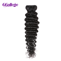 CCollege Indian Human Hair Deep Wave Weave 1 Bundles Natural Color NonRemy Hair Weaving Machine Double Weft Hair Extension