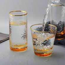 430ml 4Pcs/Set Glass Coffee Cup Creative Wine Glasses Transparent Gold-rimmed Tea Mug Drinking Glasses Whiskey Glass Drinkware