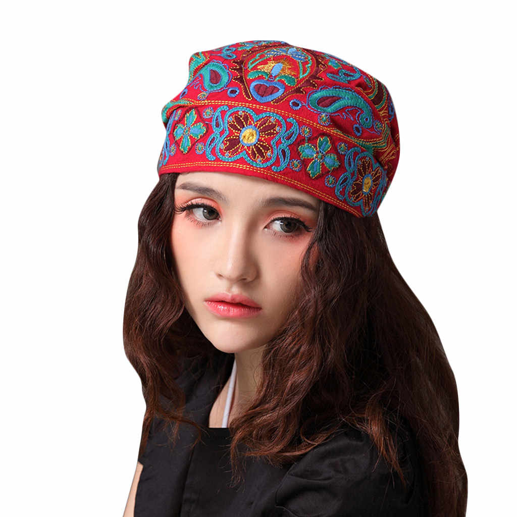 Mexican Style Spring Autumn Ethnic Vintage Embroidery Flowers Bandanas Red Blue Print Hat Travel Caps Headscarves #R5