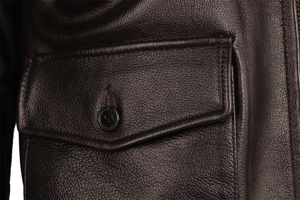 Haef34a0834e146c38cc154b33367a901u Vintage Distressed Men Leather Jacket Quilted Fur Collar 100% Calfskin Flight Jacket Men's Leather Jacket Man Winter Coat M253
