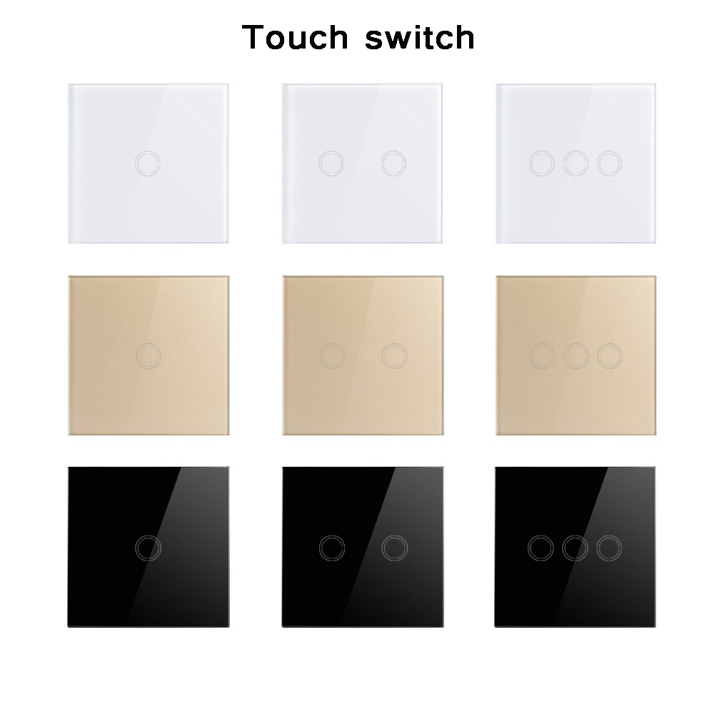 EU/UK Standard  Wall Switch, Light Touch Switch 2 Gang 1 Way AC110V 220V Wall Touch Switch