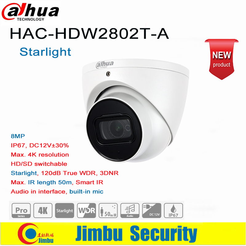 Dadua 8MP 4K Starlight HDCVI IR Eyeball Camera HAC-HDW2802T-A  Built-in Mic IR Length 50m HD/SD Switchable  IP67, DC12V±30%