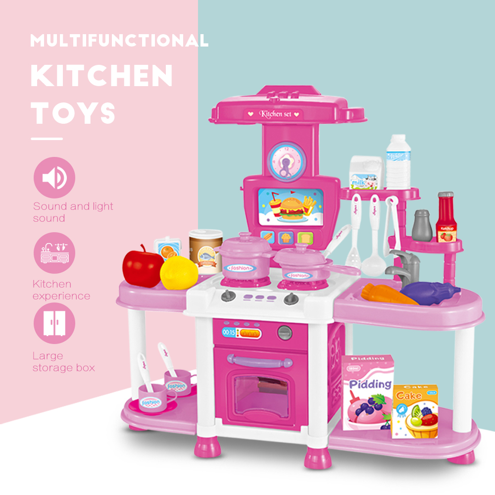 Kitchen Toys With Sound And Light Cutting Cooking Food Sets Vegetables Fruits Pretend Play Kitchen Kits Toy For Children