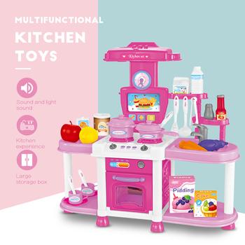 Kuchnia zabawki z dźwięk i światło cięcie gotowanie żywności zestawy warzywa owoce udawaj zagraj w zestawy kuchenne zabawki dla dzieci tanie i dobre opinie Lyshare Z tworzywa sztucznego Kitchen Toys Unisex None Zabawki kuchenne zestaw 3 lat