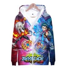 Hooded Jacket Sweatshirt Beyblade-Burst Japanese Streetwear 3d-Zipper Men Harajuku Boys