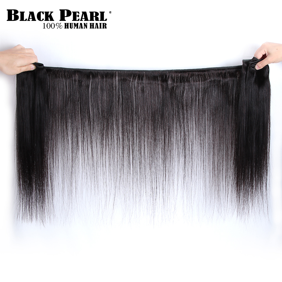 Image 3 - Black Pearl Brazilian Straight Hair Lace Frontal Closure With Bundles Non Remy Human Hair With Frontal 3 Bundles With Frontal-in 3/4 Bundles with Closure from Hair Extensions & Wigs