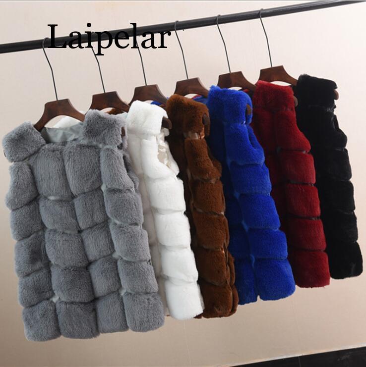 Laipelar New Winter Rabbit Hair Fur Coat Women  Faux Fur Vest Plaid Warm PU Leather Pocket Jacket Women Fur Outerwear Feminino