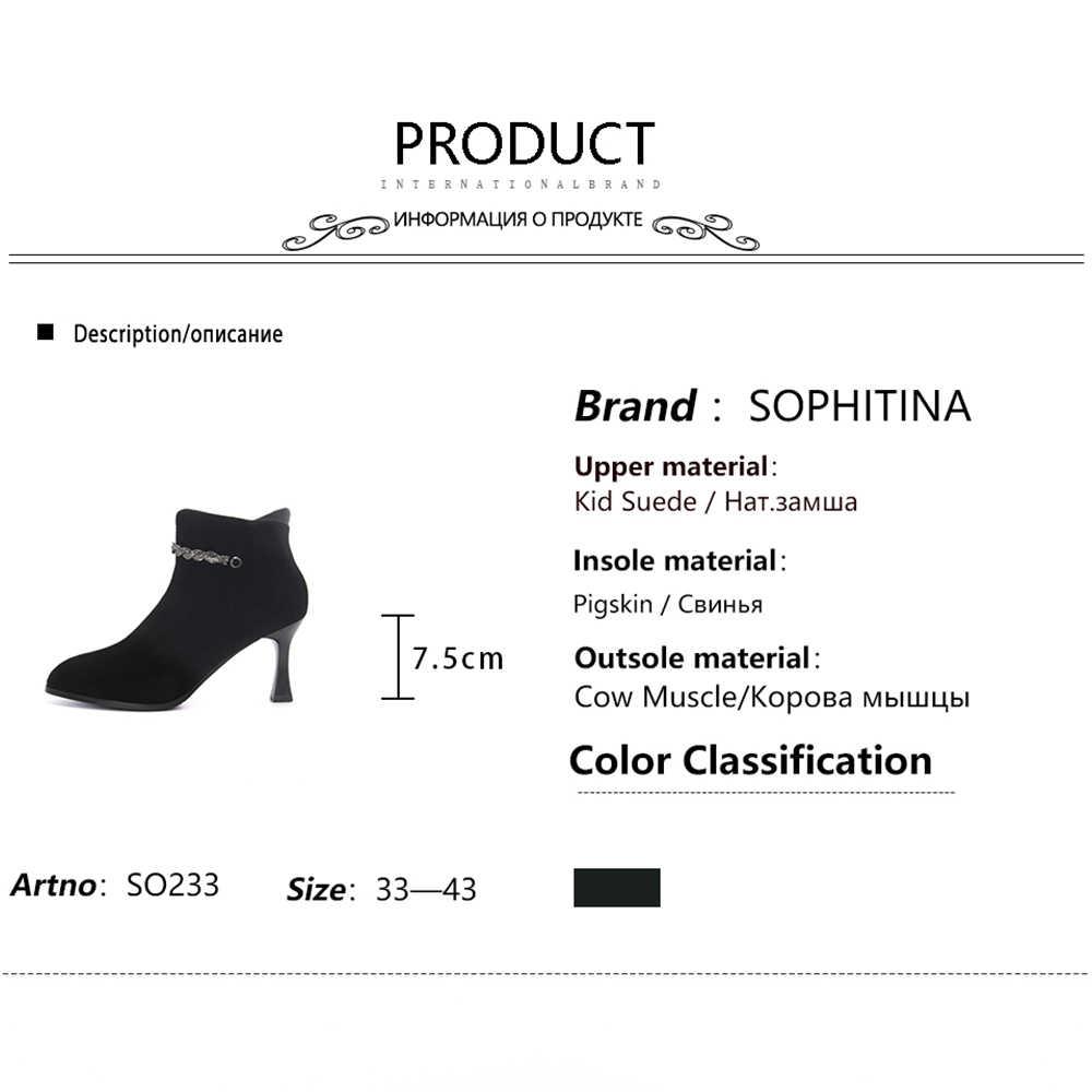 SOPHITINA bayanlar yarım çizmeler seksi sivri burun fermuar el yapımı ince topuk ayakkabı kış katı 7.5 cm yüksek topuk kadın çizmeler SO233
