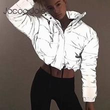 Jocoo Jolee Women Fashion Night Reflection Jacket Oversized Cotton Cropped Coat