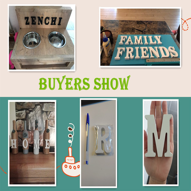 1pc Diy Freestanding Wood Wooden Letters White Alphabet Wedding Birthday Party Home Decorations Personalised Name Design QQLIFE 3