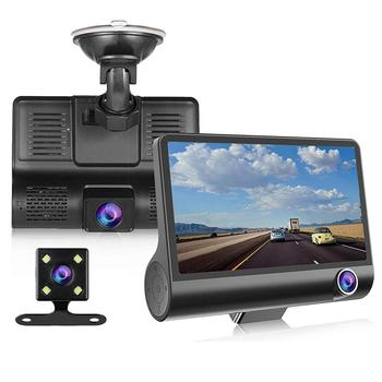 Car DVR 3 Cameras Lens 4.0 Inch Dash Camera Dual Lens suppor Rearview Camera Video Recorder Auto Registrator Dvrs Dash Cam image