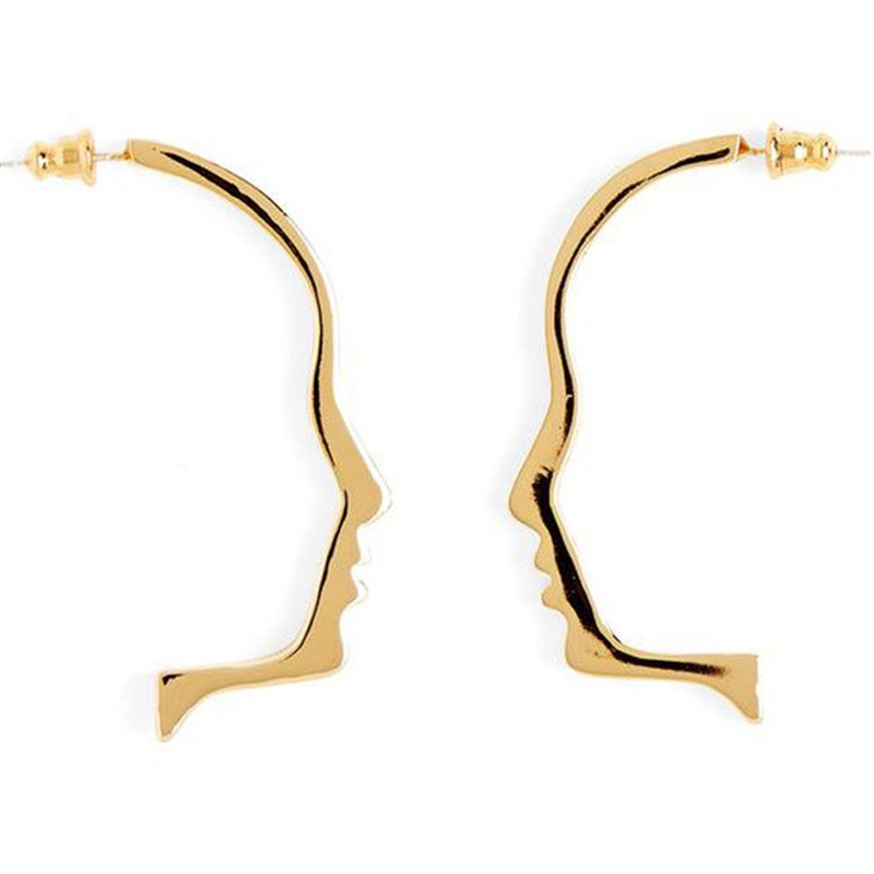 Abstract Style Shining Face Outline Earrings Girls Chic Statement Earrings Bijoux