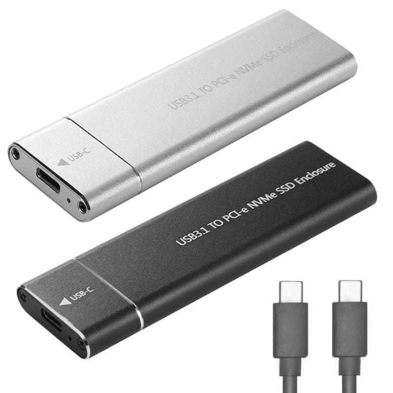 Type-C USB 3.1 NVME Solid State Hard Disk Case 10Gbps PCI-e Enclosure Portable NVMe PCI-E M.2 M-Key SSD Box