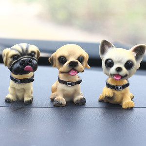 1pc Cute Shaking Head Resin Dog Puppy Figurines Auto Interior Dashboard Toys Home Desktop Furnishing Decor Gifts Random Style(China)
