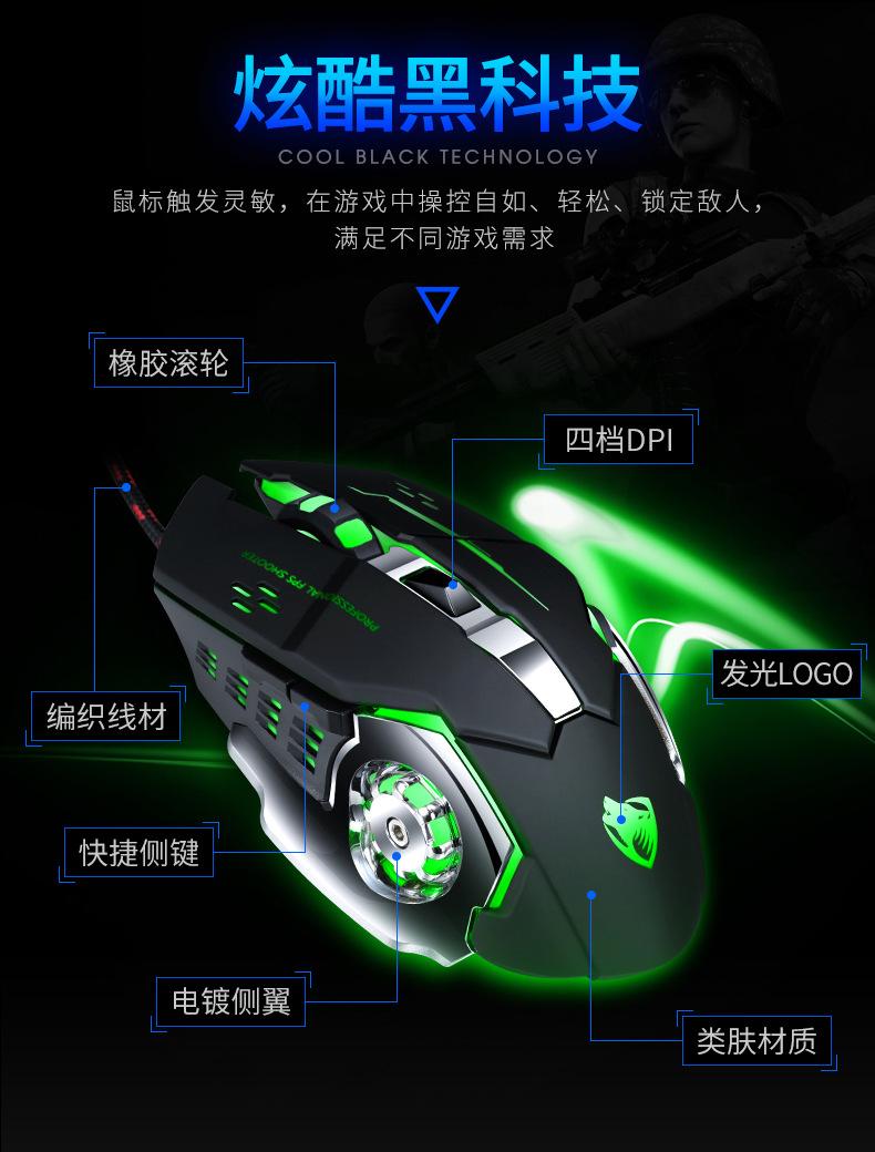 Мышь Компьютерная v6 Проводная игровая 3200dpi 6 кнопок