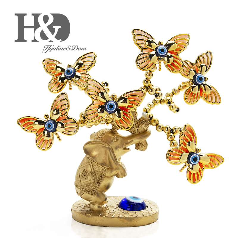 H&D Resin Elephant Butterfly Tree Figurine Lucky Blue Evil Eye Tree for Money Protection Wealth Good Luck Xmas Gift Home Decor