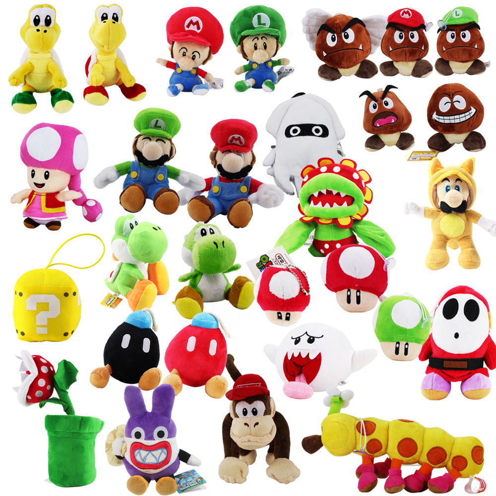 Super Mario Yoshi Goomba Shy Guy Toadette Diddy Kong Bomb Piranha Mushroom Nabbit Koopa Turtle Caterpillar Octopus Plush Toys