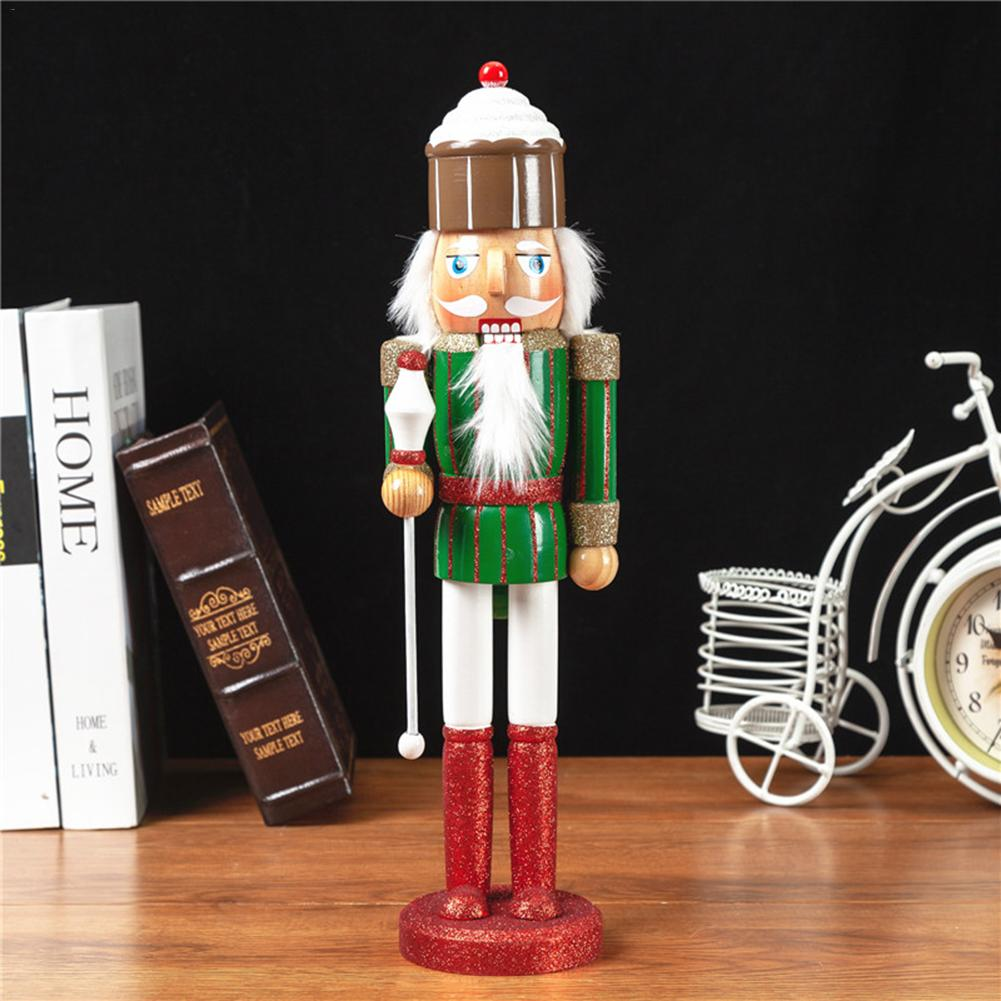 2PCS/Set Christmas Wooden Nutcracker Soldier Jewelry 38CM Color Pink Green Series